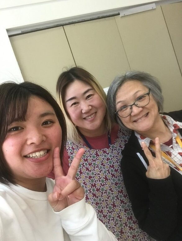 With staff members from Taiwan and Korea